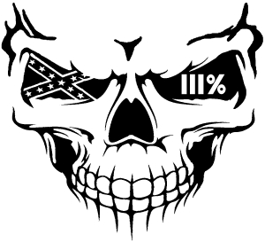 300x273 Skull 3 Percent Confederate Flag Car Or Truck Window Decal Sticker