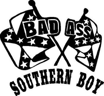 350x323 Ass Southern Boy, Rebel Flag, Vinyl Decal Sticker