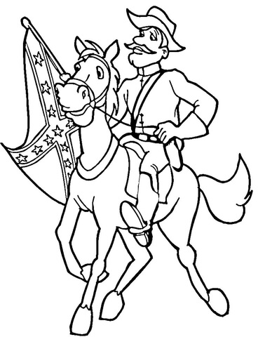 368x480 Confederate Soldier With Flag Coloring Page Free Printable