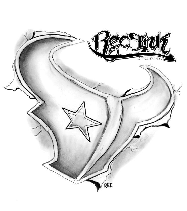 744x840 H Town Tattoo Texans 3 D,htown, By Rec,screwston By Txrec