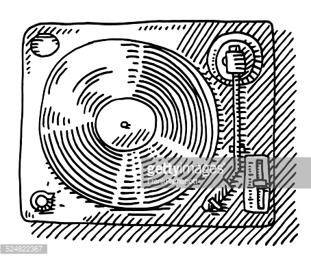 454x378 Hand Drawn Vector Drawing Of A Record Player, View From Above