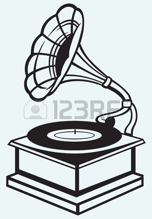 312x450 Old Record Player Isolated On Blue Batskground Royalty Free