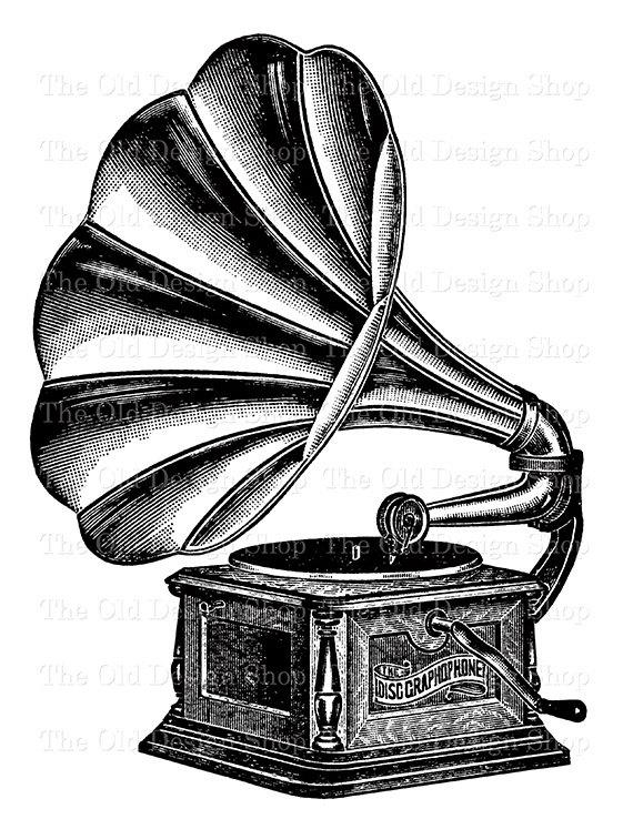 570x738 Antique Record Player Gramophone Graphophone Clip Art Vintage