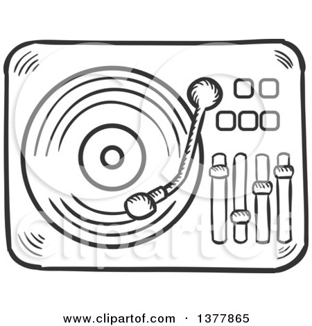 450x470 Clipart Of A Black And White Sketched Vinyl Record Player