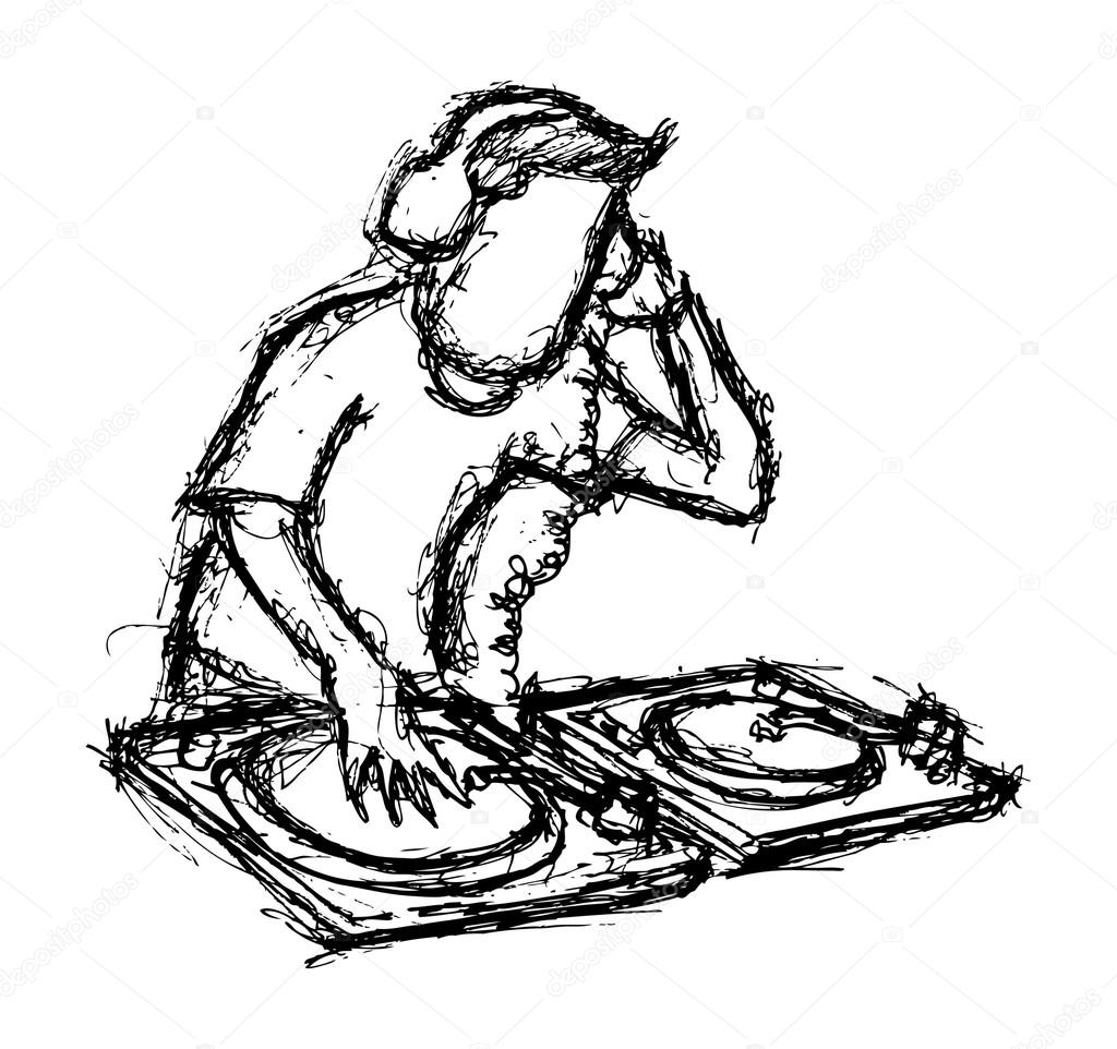1024x962 Dj Playing Turntable Stock Vector Mhatzapa