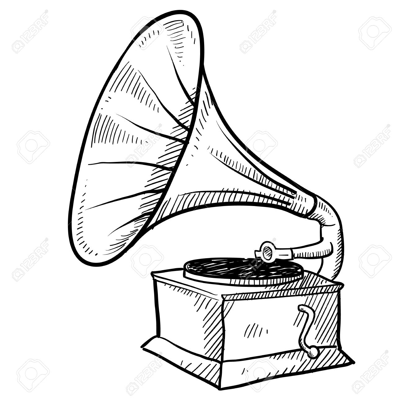 1299x1300 Doodle Style Antique Phonograph Or Record Player In Vector Format
