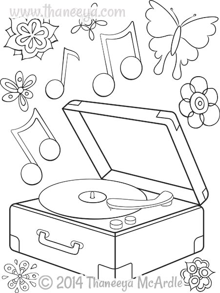 451x600 Hipster Coloring Book Record Player By Thaneeya Adult Coloring