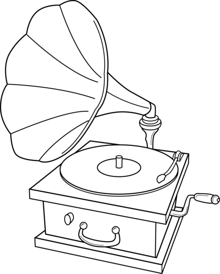 443x550 Record Player Coloring Page