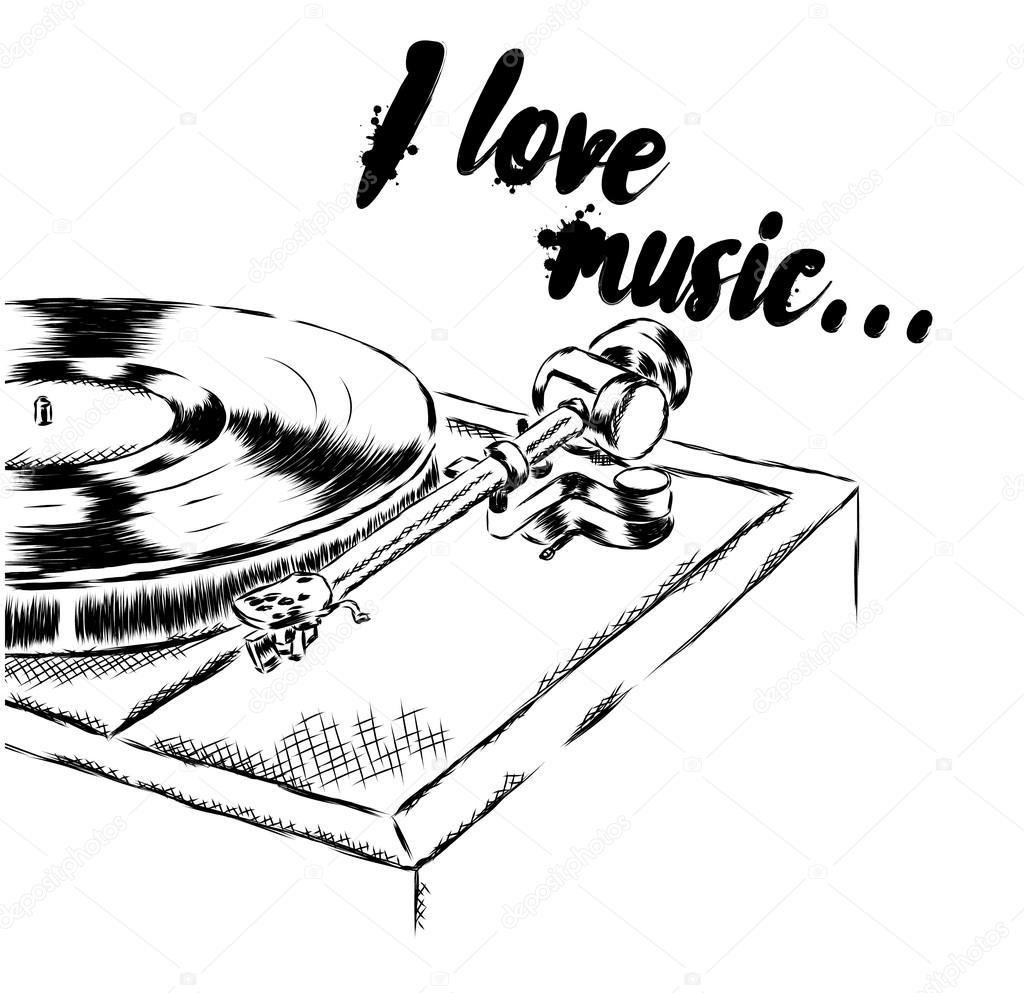 1024x993 The Player With Vinyl Records. Dj Mixer. Vector Illustration