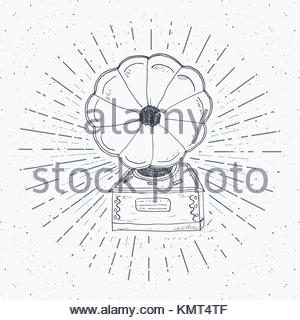 300x320 Vector Illustration Of A Gramophone Sketch Drawing Stock Vector