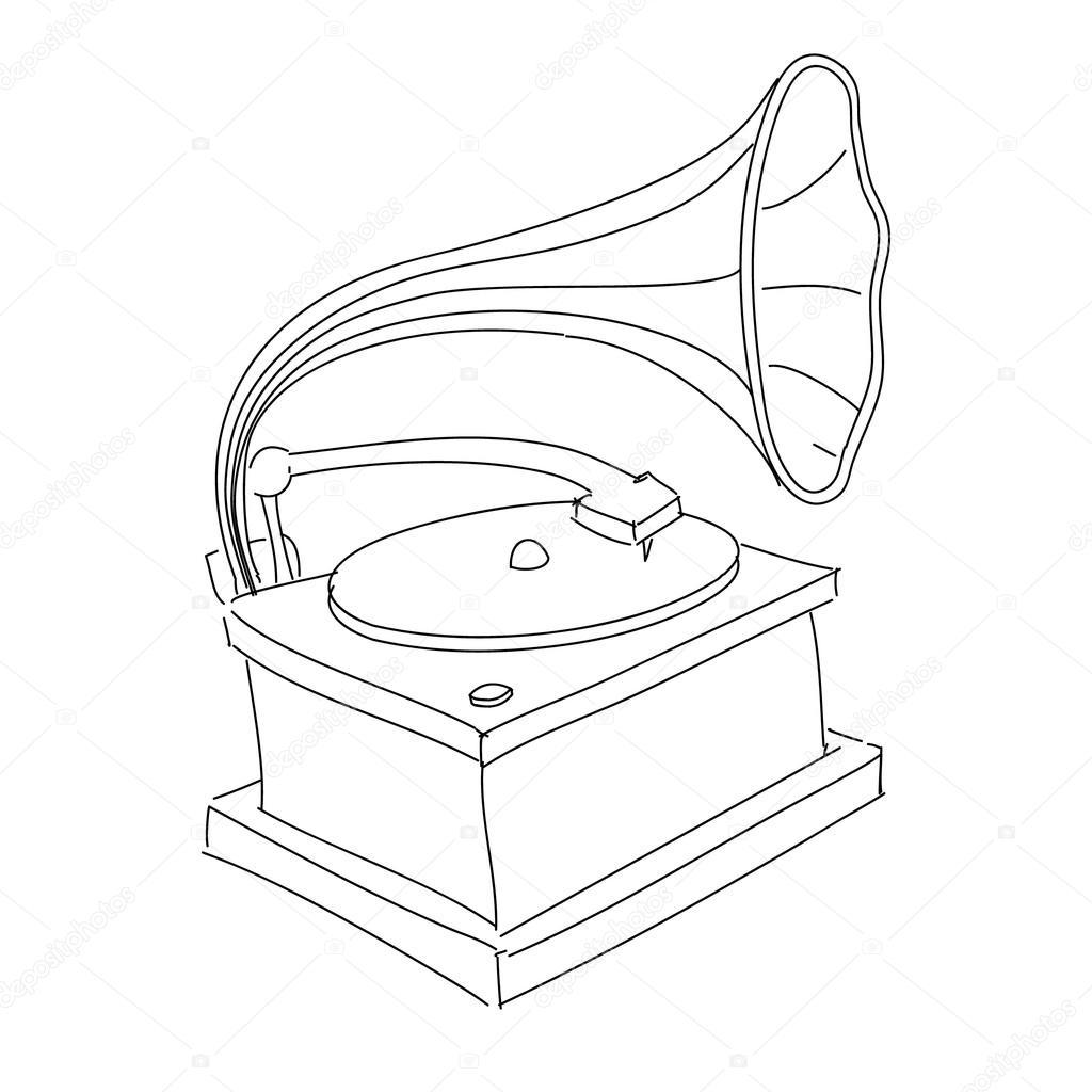 1024x1024 Vintage Gramophone, Record Player Stock Vector Chuhail
