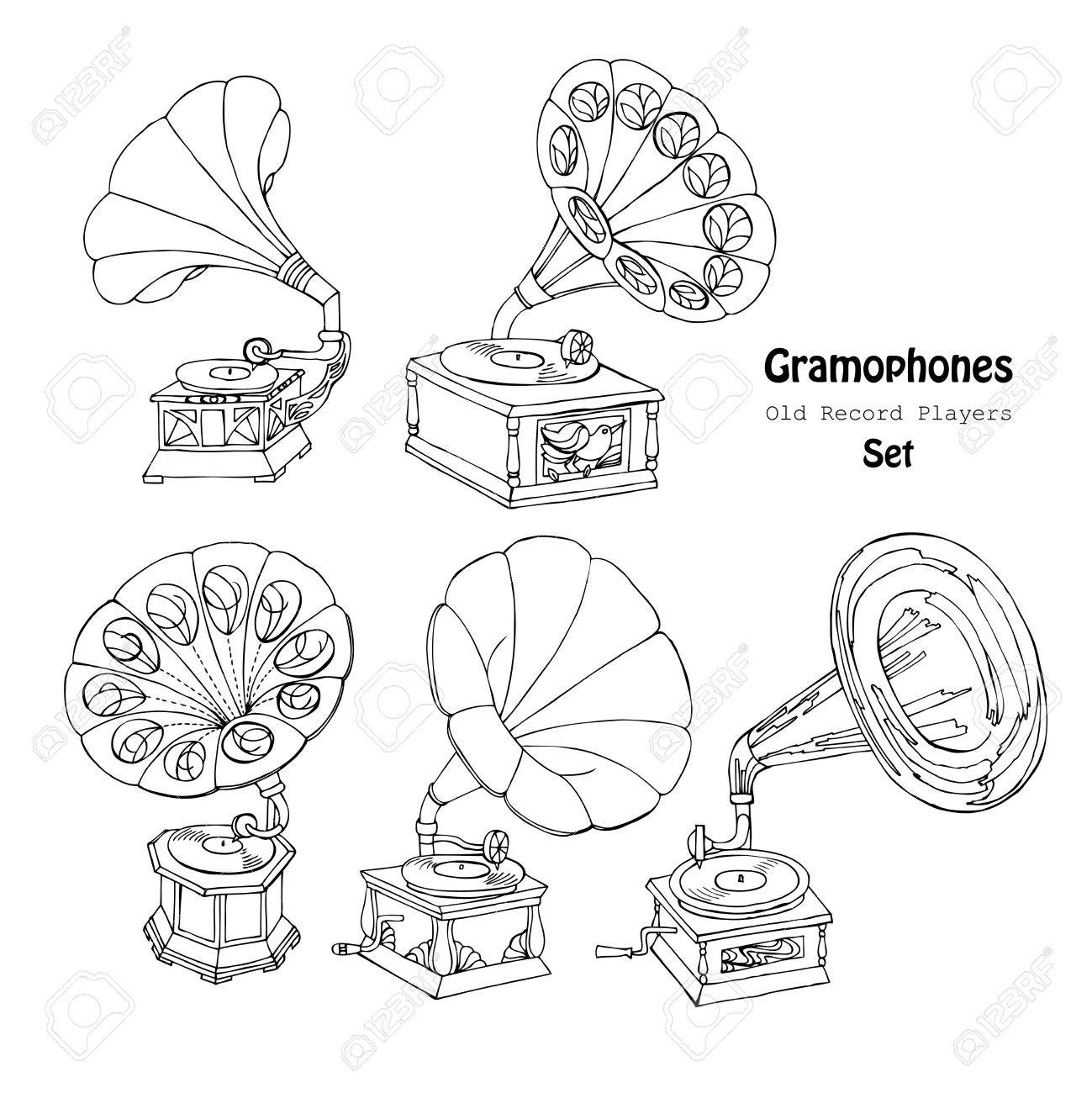 1299x1300 Background With Gramophone.hand Drawn Sketches Old Record Player