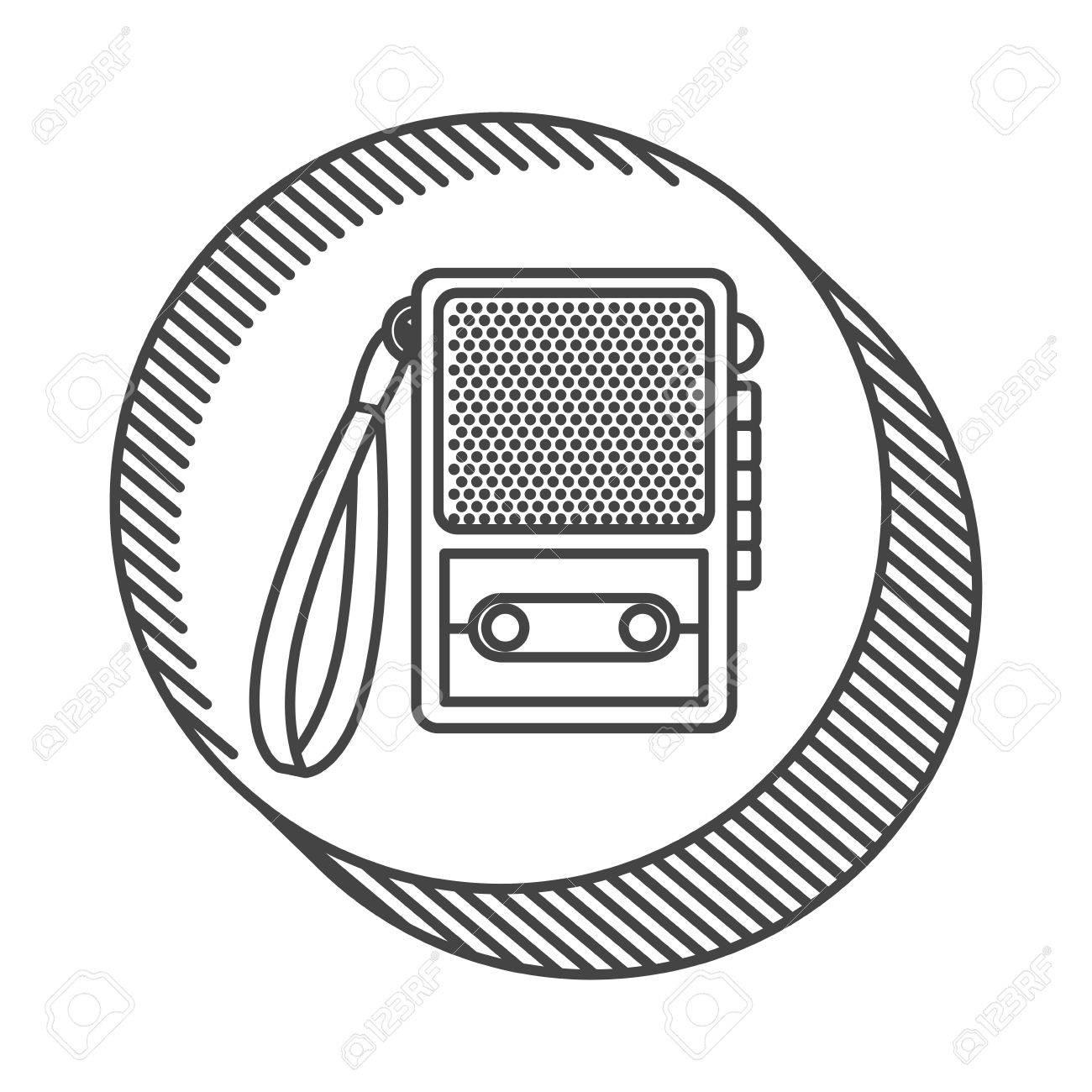 1300x1300 Retro Recorder Device Icon. Broadcast And Media Design. Vector