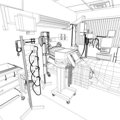 500x500 3d Model Hospital Recovery Room Cgtrader