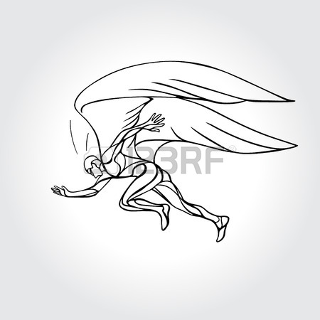 450x450 Start Running. Man With Wings Outline Vector Illustration
