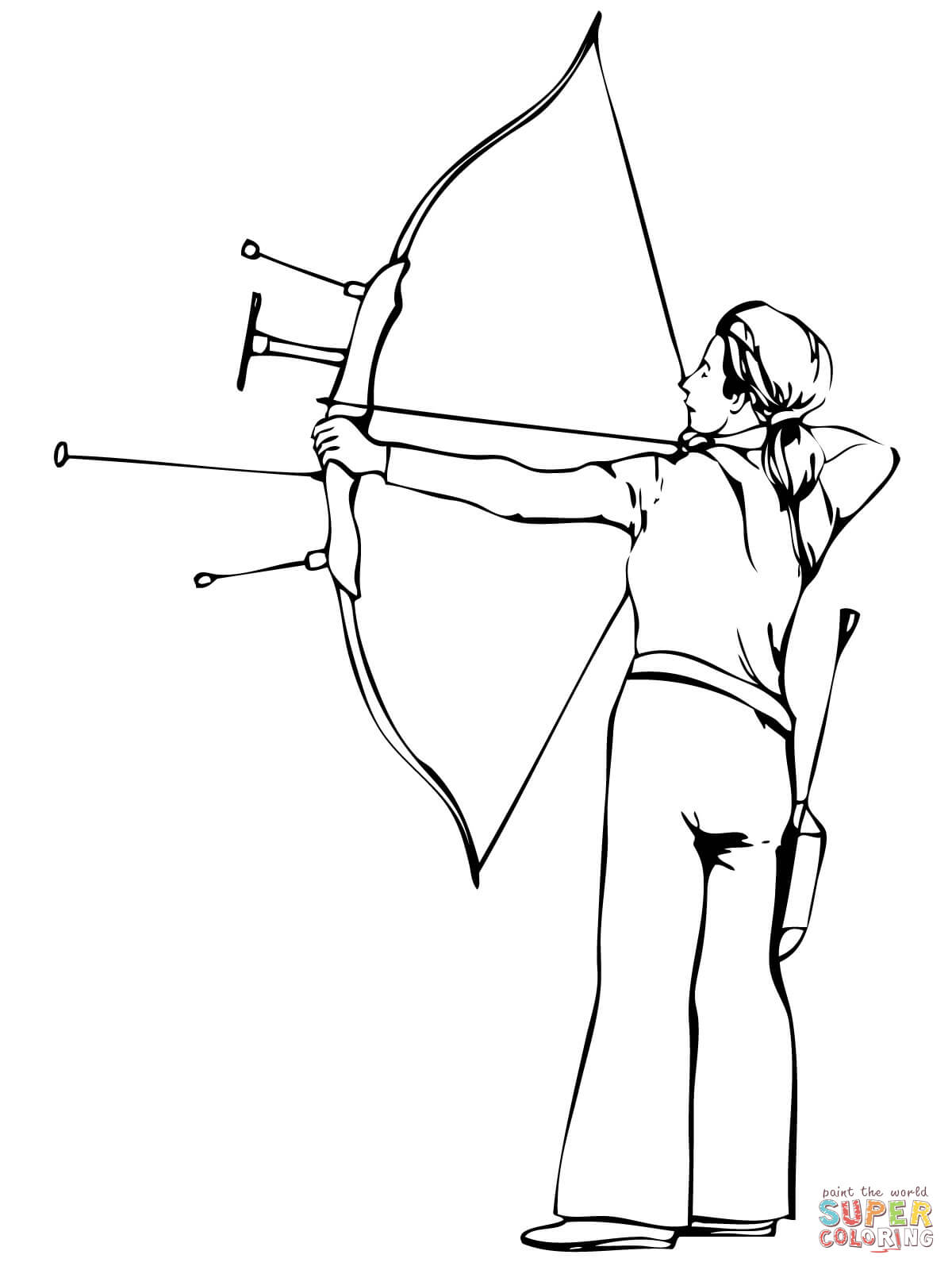 1200x1600 Shooting Recurve Bow Coloring Page Free Printable Coloring Pages