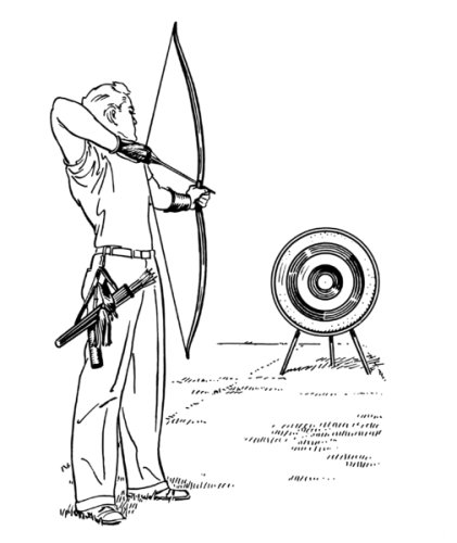 421x500 6 Inch X 4 Inch Greeting Card Line Drawing Archery What Men Want