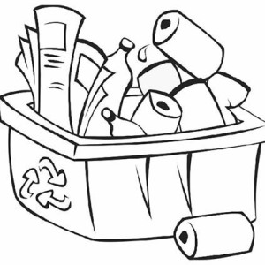 300x300 recycle bin coloring page for kids coloring sky