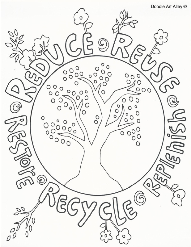 Bin colouring page recycling 618x800 reduce reuse recycle doole kcamp reduce reuse recycle