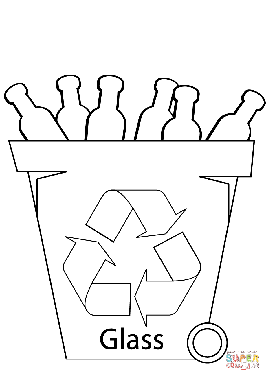 919x1300 Glass Recycling Bin Coloring Page Free Printable Pages