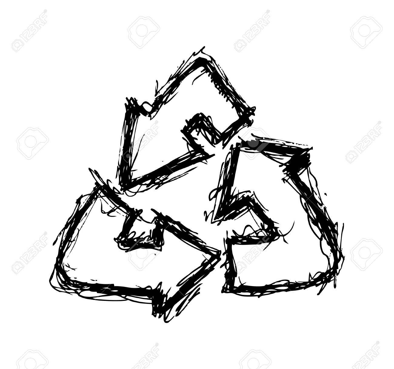 1300x1219 Hand Drawn Recycle Sign Royalty Free Cliparts, Vectors, And Stock