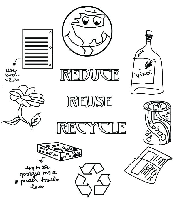 600x776 Recycle Coloring Pages Earth Day Reduce Reuse Recycle On Earth Day