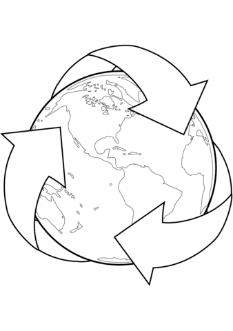338x480 Recycle Sign With Earth Coloring Page Free Printable Pages