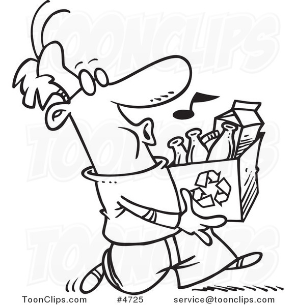 581x600 Cartoon Blacknd White Line Drawing Of Whistling Guy Carrying