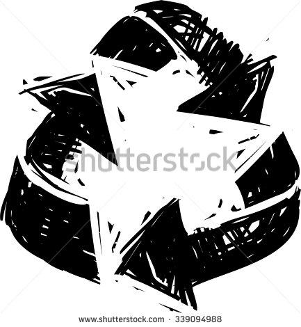 433x470 Recycling Symbol, Hand Draw Illustration