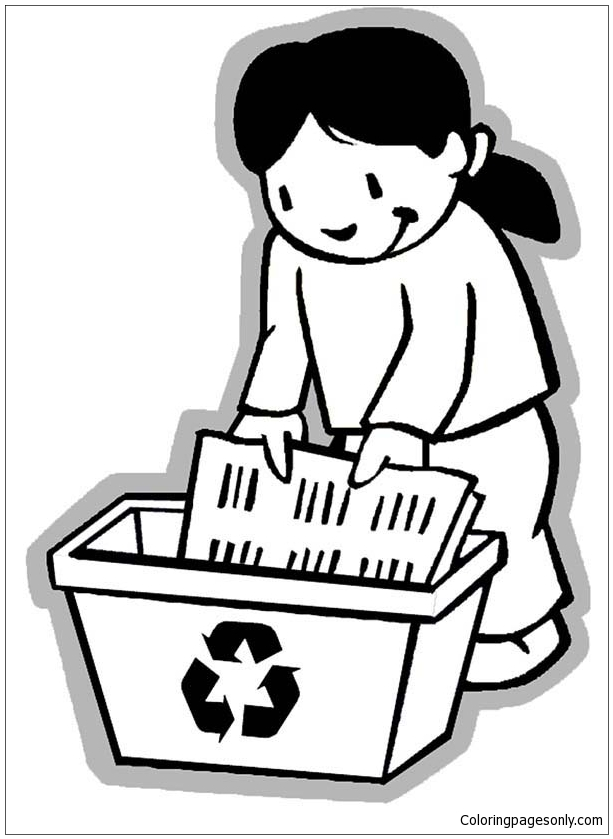 613x839 Collecting Paper For Recycling Coloring Page