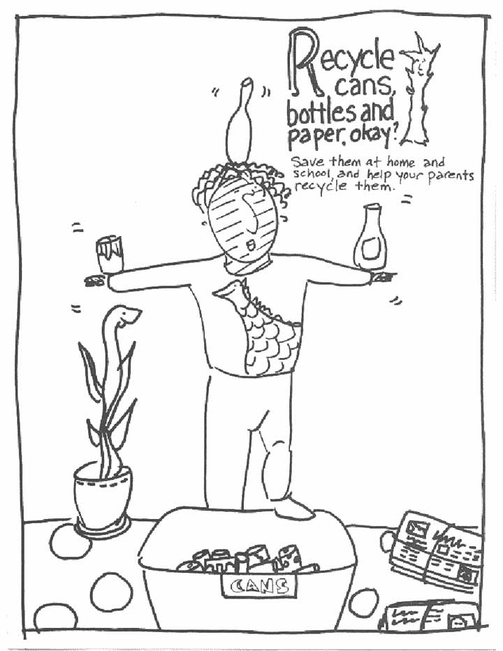 720x932 This Coloring Page For Kids Focuses On Recycling Cans, Bottles