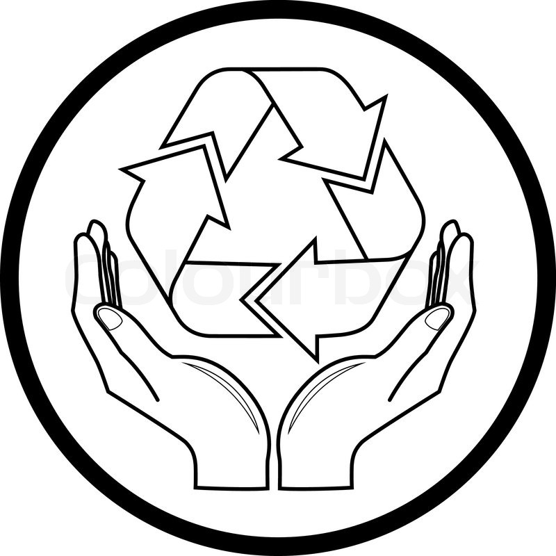 800x800 Vector Recycle Symbol In Hands Icon Stock Vector Colourbox