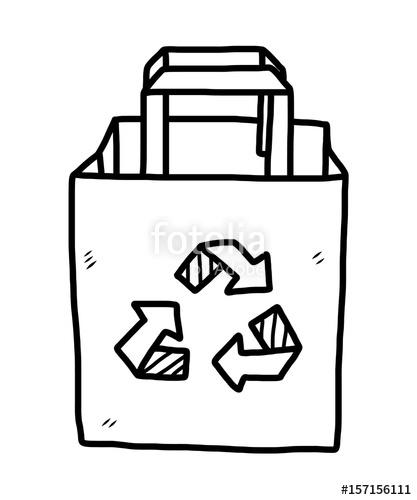 417x500 Recycle Paper Bag Cartoon Vector Illustration, Black