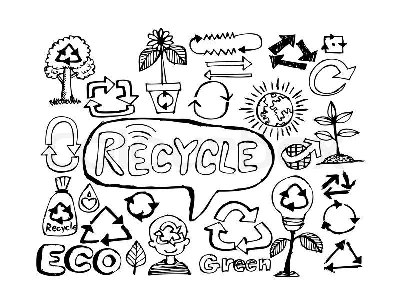 800x600 Eco Idea Sketch And Eco Friendly Doodles Stock Vector Colourbox