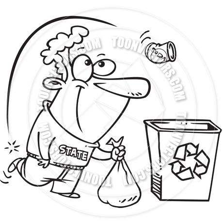 460x460 Cartoon Recycling Bin (Black And White Line Art) By Ron Leishman