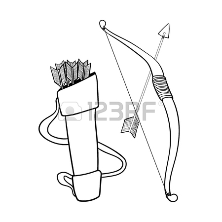 450x450 Hand Drawn Arrows Bow And Case, Isolated On White Background