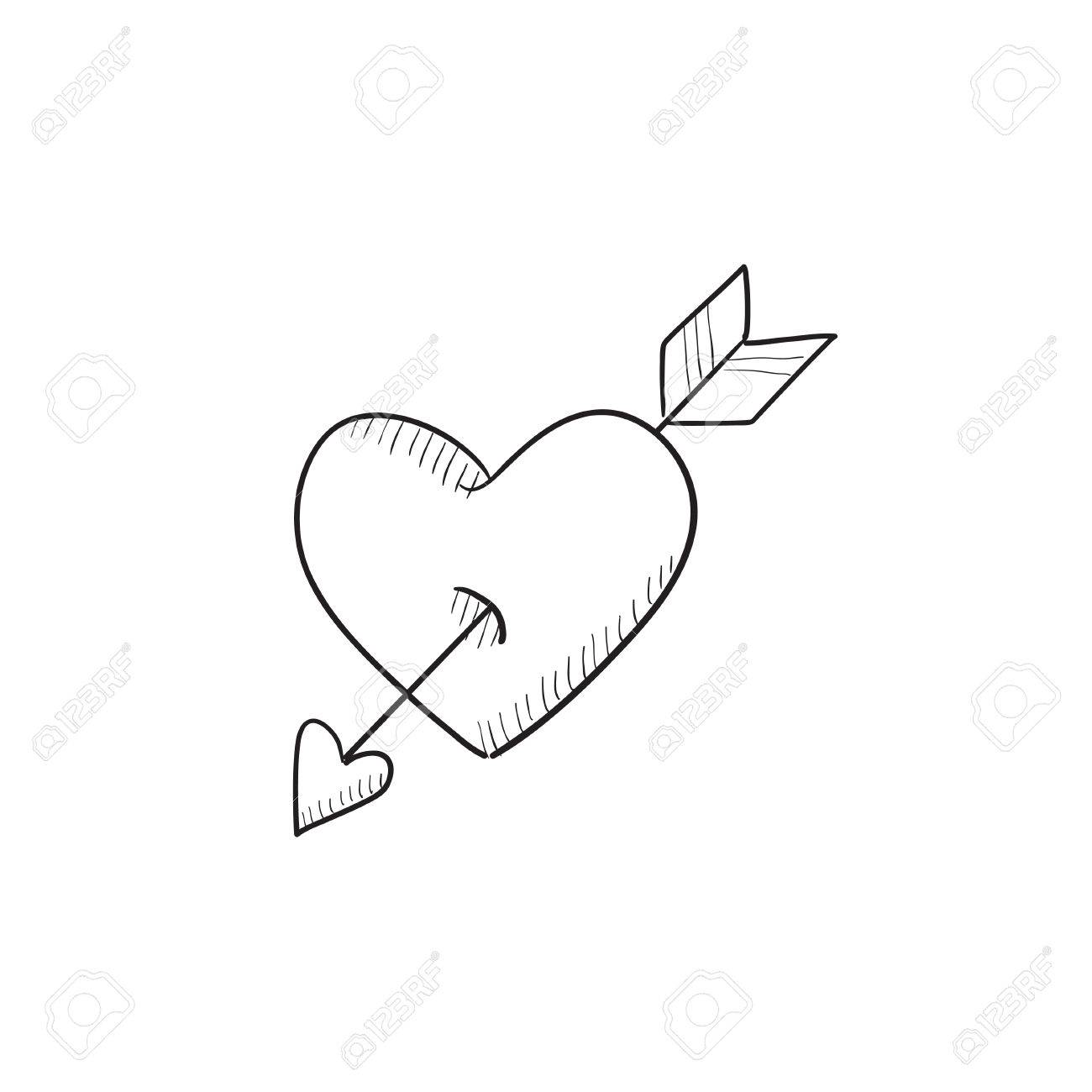 1300x1300 Heart Pierced With Arrow Vector Sketch Icon Isolated On Background
