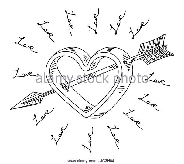 606x540 Heart With Arrow Cut Out Stock Images Amp Pictures