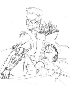 236x299 Nightwing And Red Arrow By Jamaligle Lineart Superhero Detailed