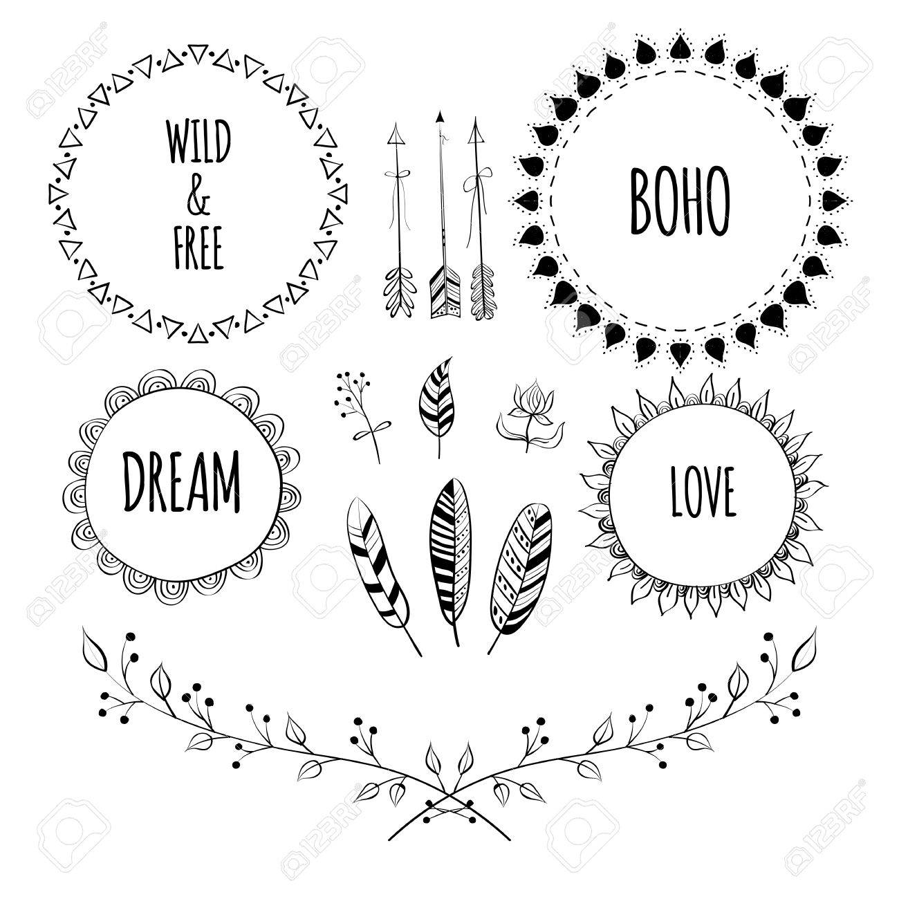 1300x1300 Set Of Boho Style Frames And Hand Drawn Elements. Hand Drawn