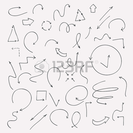 450x450 Sketched Icons Set, Drawing Line Arrows Royalty Free Cliparts