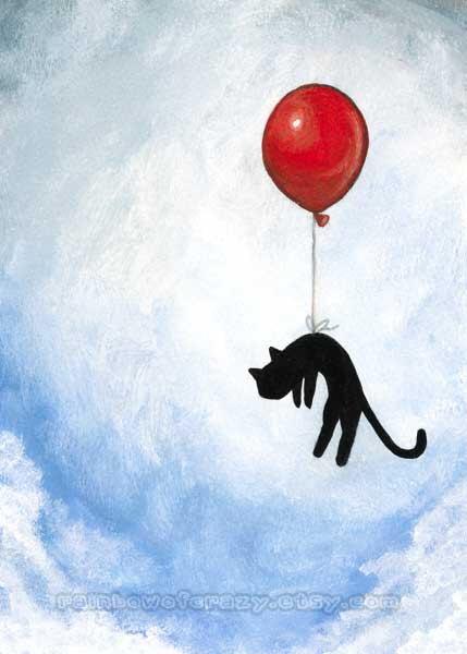 429x600 Black Cat Print, Red Balloon, Blue Sky, 5x7 Wall Art, Nursery Room