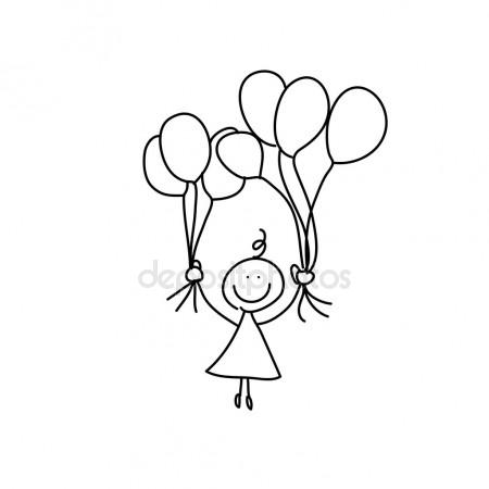 450x450 Hand Drawing Girl With Balloons Stock Vector Atthameeni