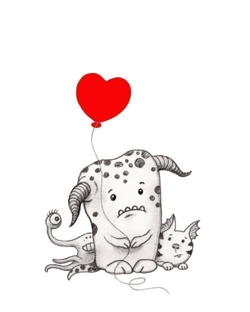 500x624 Love Monster Print Red Balloon Heart Art By Sepialepus On Etsy