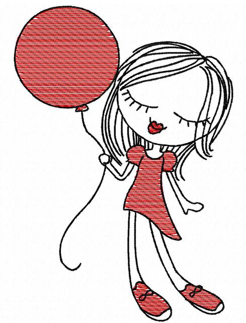 489x640 Swirly Girl With Balloon Sketch Embroidery Design