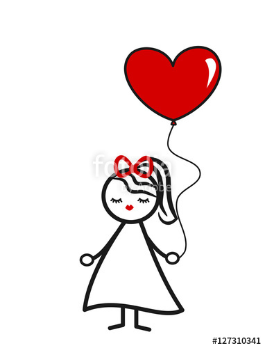 382x500 Cute Lovely Black White Red Stick Figure Girl With Heart Balloon
