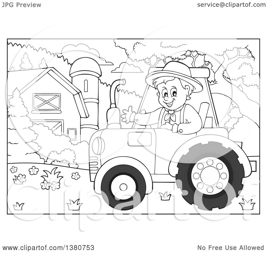 1080x1024 Clipart Of A Black And White Happy Male Farmer Waving And Driving