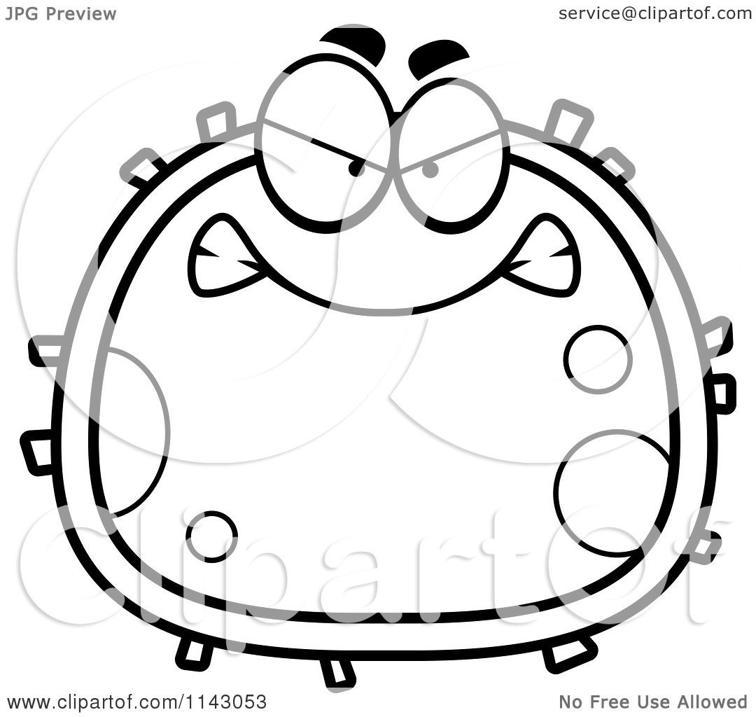 1080x1024 Cartoon Clipart Of A Black And White Mad Blood Cell
