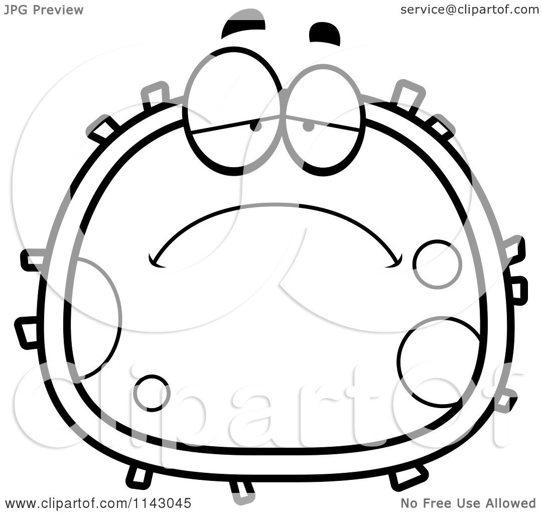 1080x1024 Cartoon Clipart Of A Black And White Sad Blood Cell