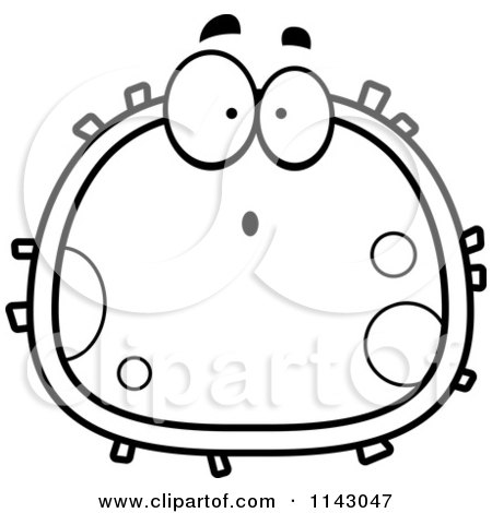 450x470 Cartoon Clipart Of A Black And White Surprised Blood Cell
